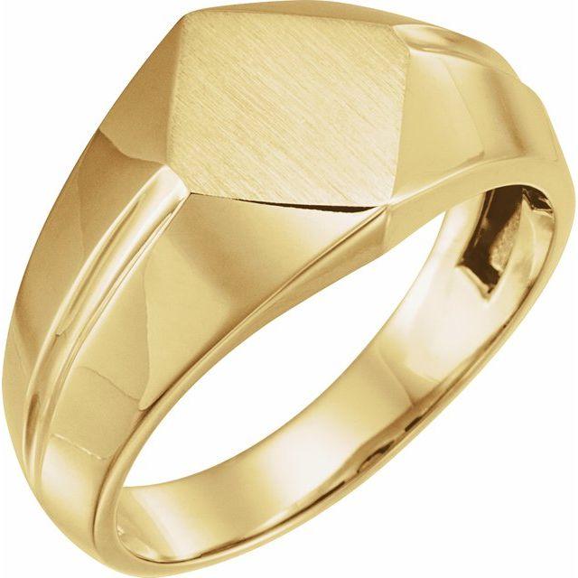 14K Yellow 12x11 mm Rectangle Signet Ring