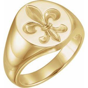 14K Yellow 16x11 Oval Fleur-de-lis Signet Ring