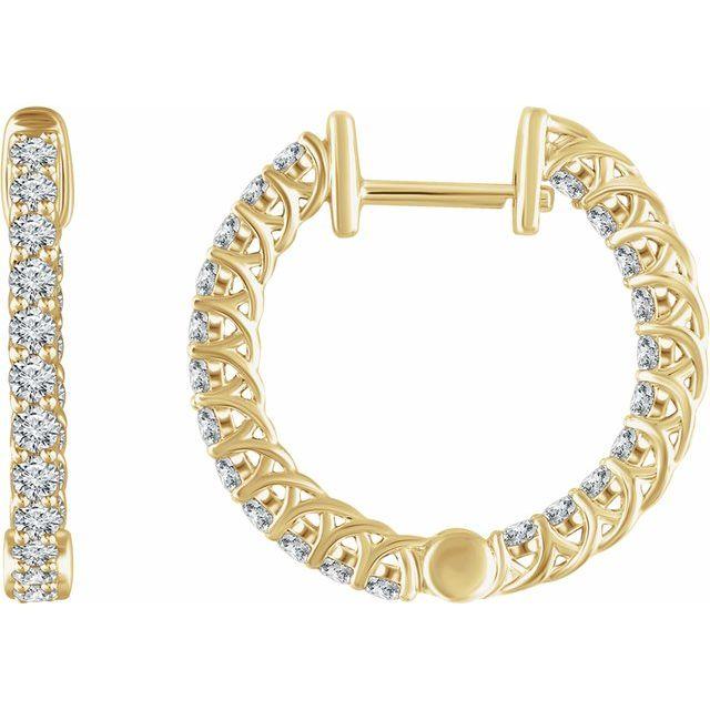 14K Yellow 1 CTW Diamond Inside/Outside 20.1 mm Hoop Earrings