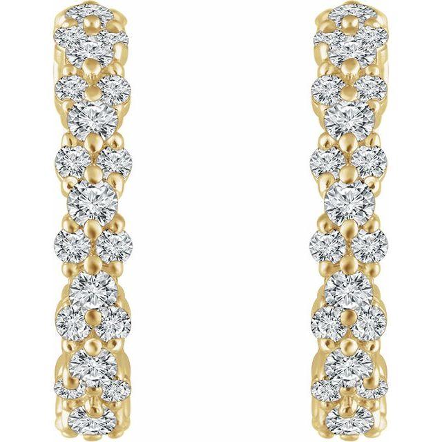 14K Yellow 5/8 CTW Diamond Hoop Earrings