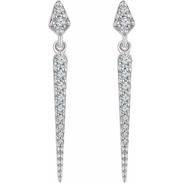 14K White 1/4 CTW Diamond Dangle Earrings