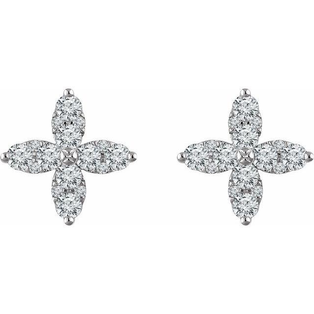 14K White 1 1/4 CTW Diamond Flower Earrings