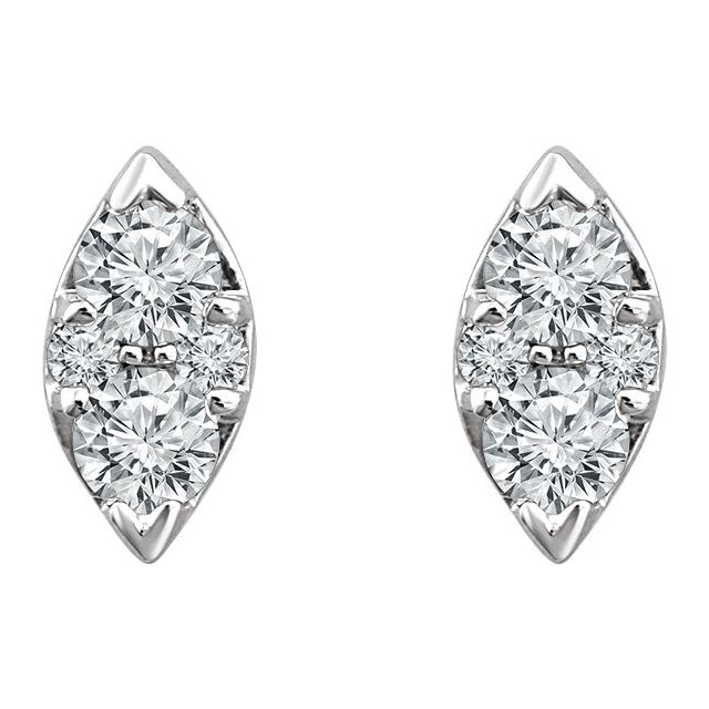 14K White 1/5 CTW Diamond Cluster Earrings