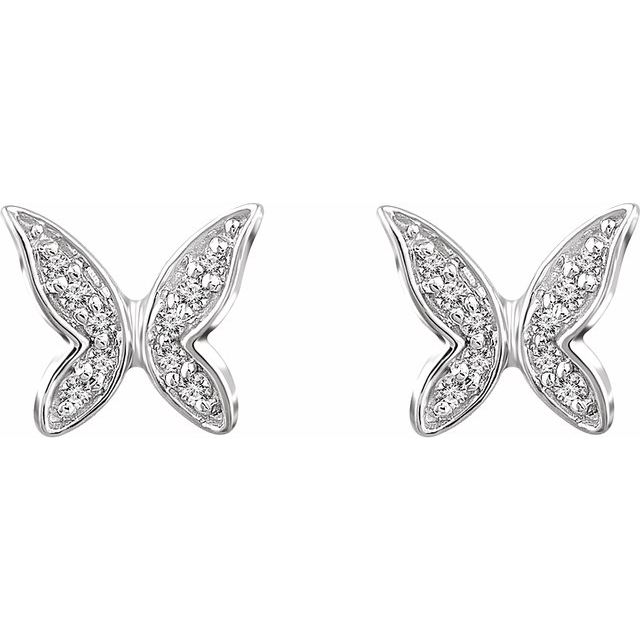 14K White .07 CTW Diamond Butterfly Earrings