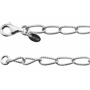 "Sterling Silver 4.5 mm Knurled Curb 16"" Chain"