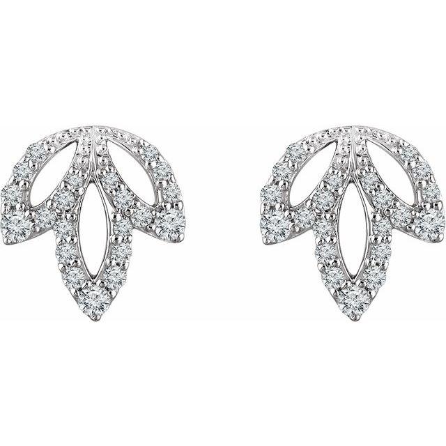 14K White 1/4 CTW Diamond Leaf Earrings