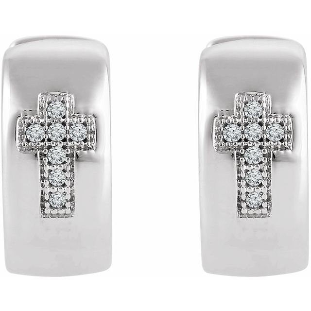 Sterling Silver .05 CTW Diamond Cross Hoop Earrings