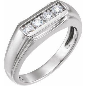 14K White 3/8 CTW Diamond Men-s Ring