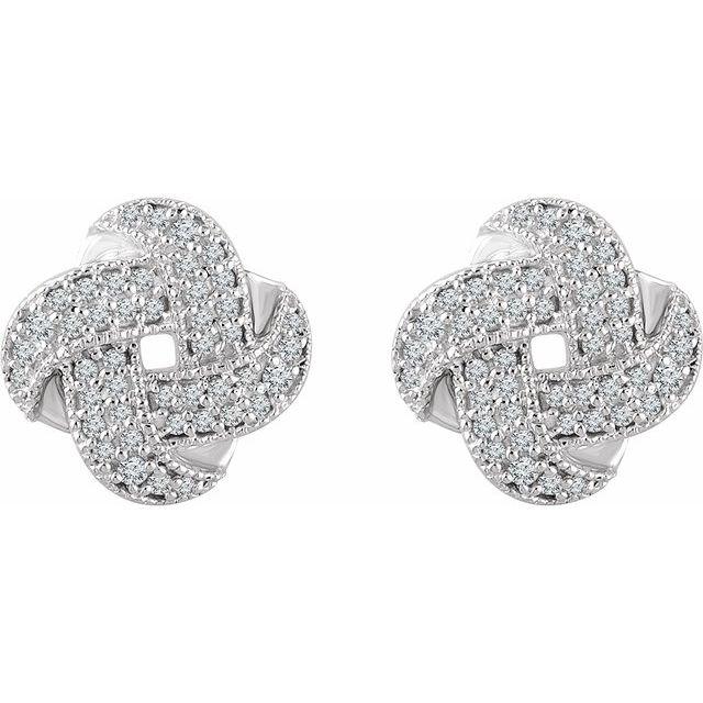 14K White 1/3 CTW Diamond Knot Earrings