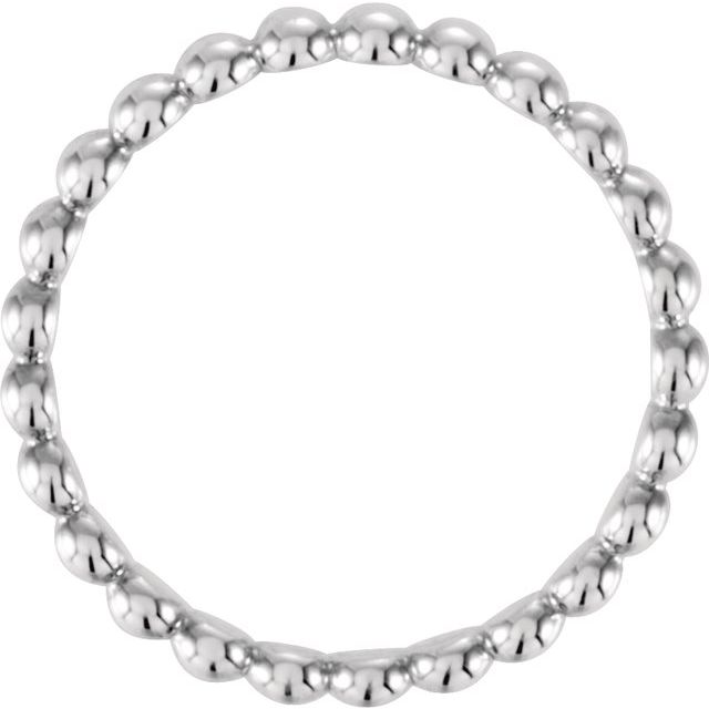 Sterling Silver 2.5 mm Beaded Stackable Ring Size 8