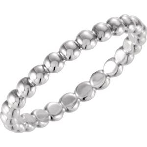 14K White 2.5 mm Beaded Stackable Ring Size 7