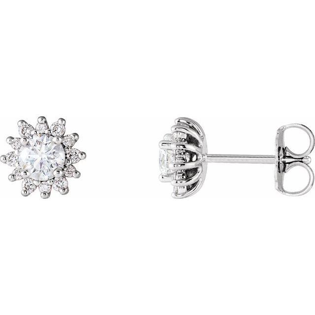 14K White 1/2 CTW Diamond Halo-Style Earrings