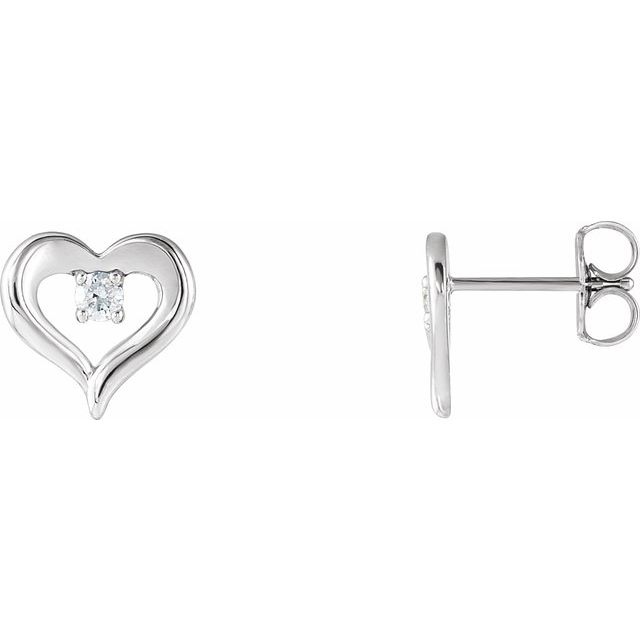 14K White 1/10 CTW Diamond Heart Stud Earrings