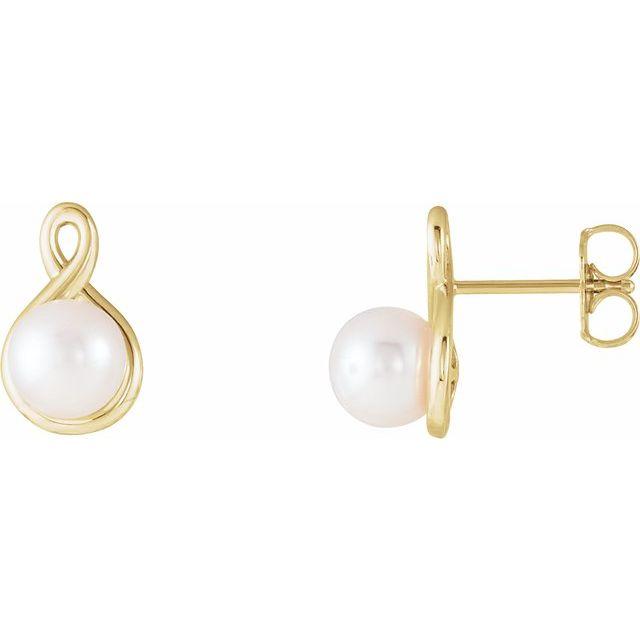 14K Yellow Pearl Earrings