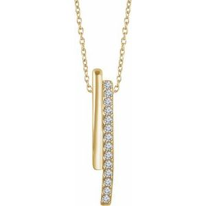 "14K Yellow 1/5 CTW Diamond 16-18"" Bar Necklace"