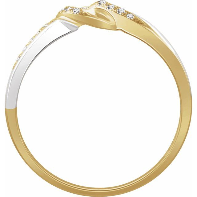 14K White & Yellow 1/10 CTW Diamond Negative Space Ring