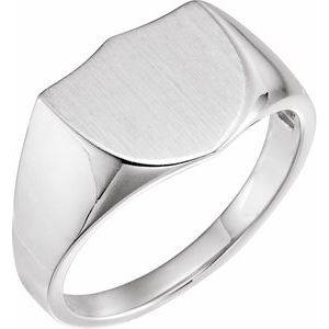 Sterling Silver 14 mm Shield Signet Ring
