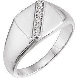 14K White 1/10 CTW Diamond 12 mm Square Signet Ring