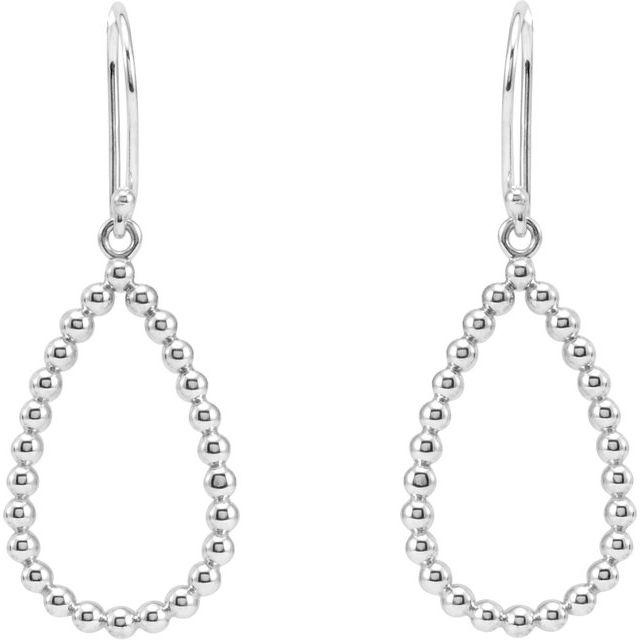 14K White 35.75x13.5 mm Beaded Teardrop Earrings