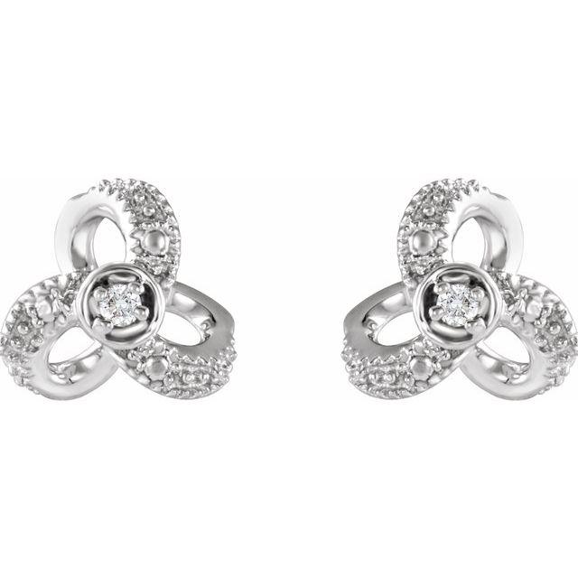 14K White 1/6 CTW Diamond Knot Earrings