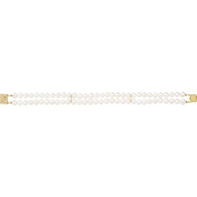 14K Yellow 5-5.5 mm Freshwater Cultured Pearl Double Strand 7