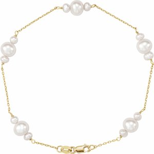 "14K Yellow Freshwater Cultured Pearl 7.5"" Bracelet"