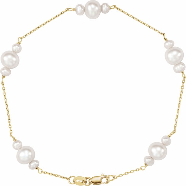 14K Yellow Freshwater Cultured Pearl 7.5