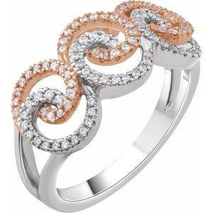 14K White/Yellow 1/3 CTW Diamond Swirl Ring
