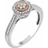 10K White & Rose 1/6 CTW Diamond Promise Ring