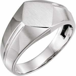 14K White 12x11 mm Rectangle Signet Ring