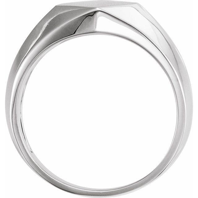 14K White 12x11 mm Rectangle Signet Ring