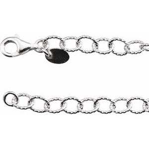 "Sterling Silver 4.45 mm Knurled Cable 16"" Chain"