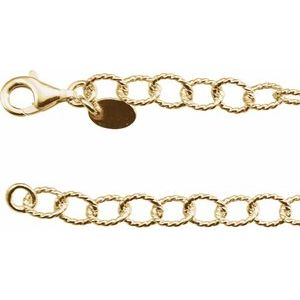 "24K Yellow Vermeil 4.45 mm Knurled Cable 16"" Chain"