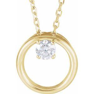 "14K Yellow 1/10 CTW Diamond Circle 16-18"" Necklace"