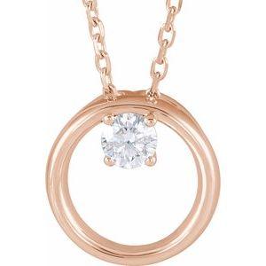 "14K Rose 1/10 CTW Diamond Circle 16-18"" Necklace"