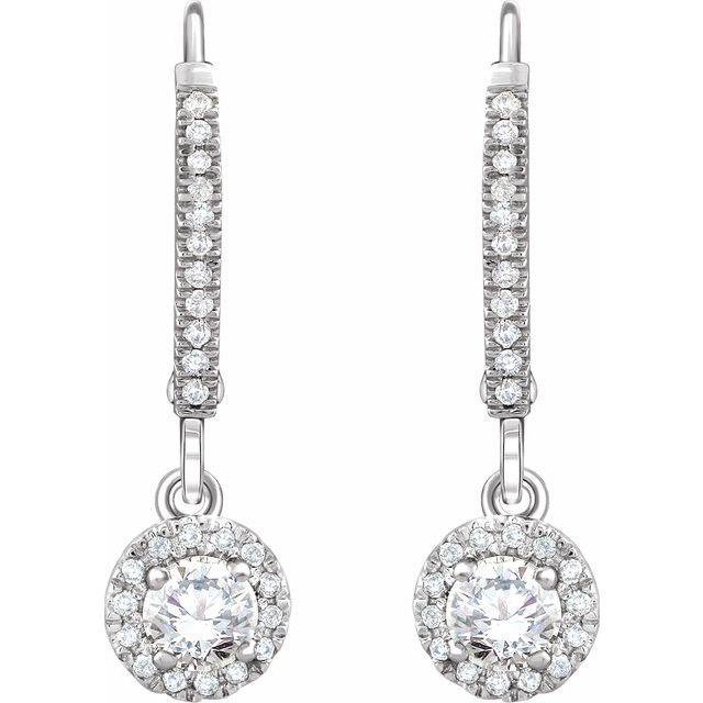 14K White 5/8 CTW Diamond Halo-Style Lever Back Earrings