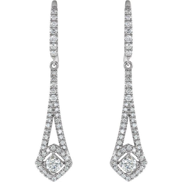 14K White 3/4 CTW Diamond Chandelier Earrings
