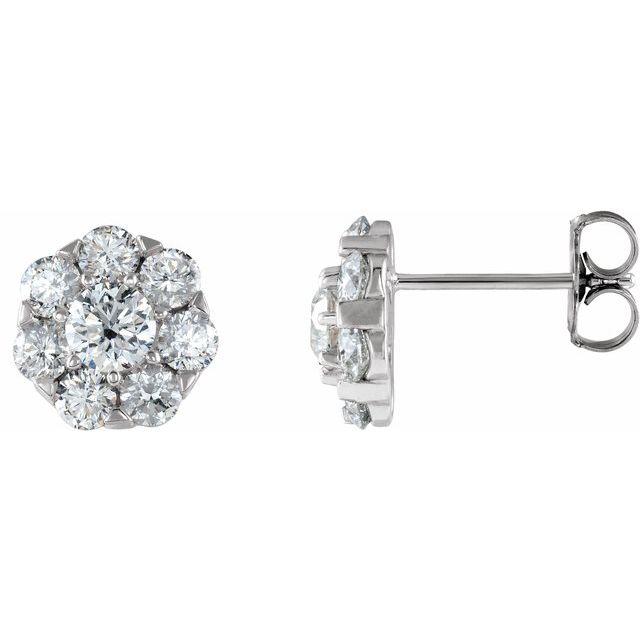 14K White 2 CTW Diamond Cluster Earrings