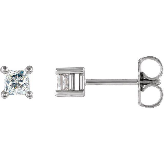14K White 1/6 CT Natural Diamond Single Stud Earring