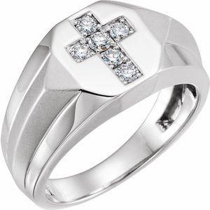 14K White 1/3 CTW Diamond Men-s Ring