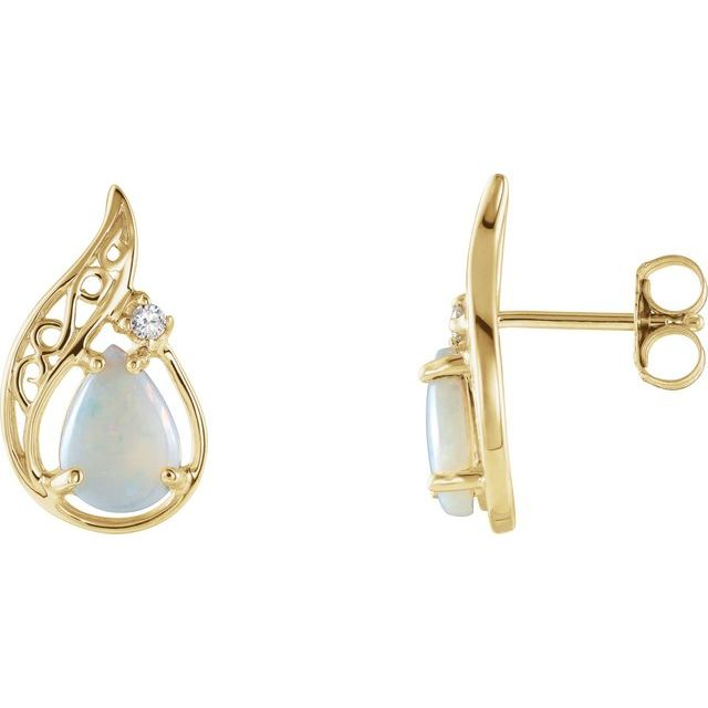 14K Yellow Opal & .03 CTW Diamond Earrings