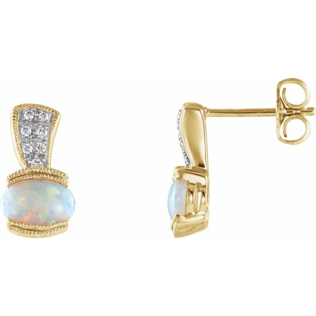 14K Yellow Opal & .07 CTW Diamond Earrings