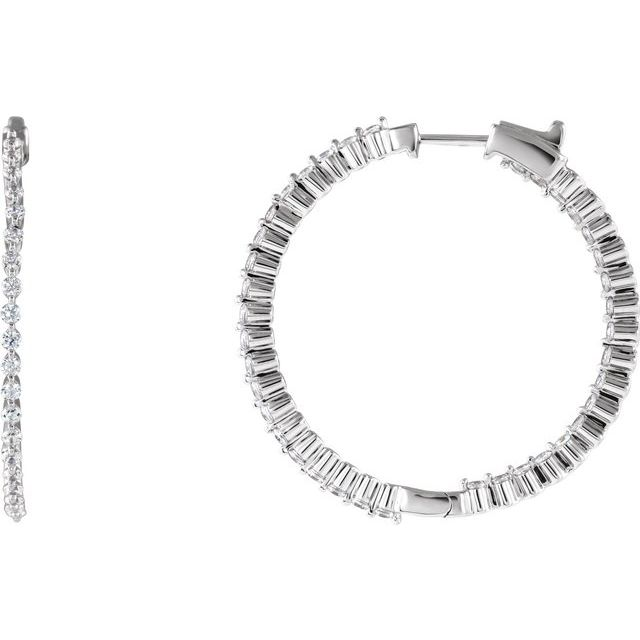 Sterling Silver Cubic Zirconia Inside-Outside 38 mm Hoop Earrings