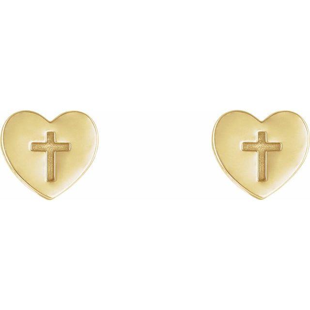 14K Yellow Heart & Cross Earrings