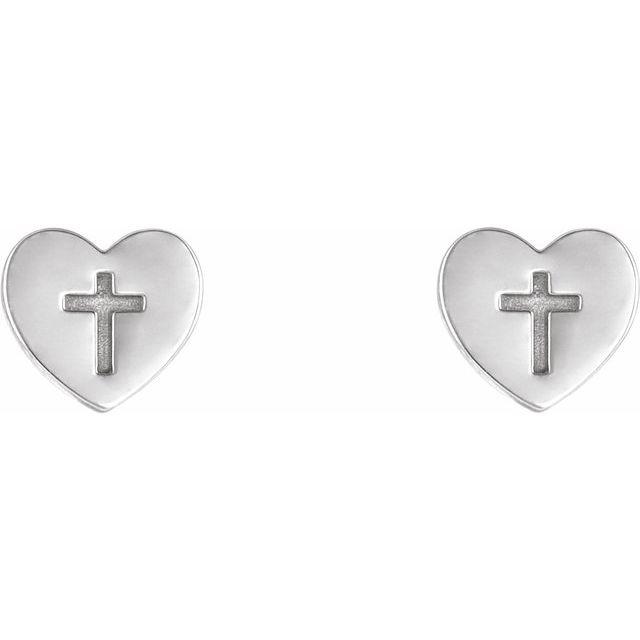 Sterling Silver Heart & Cross Earrings