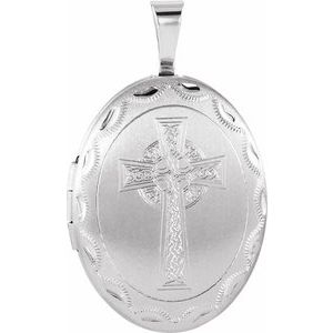 Sterling Silver Oval Celtic-Inspired Cross Locket