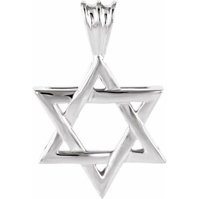 Sterling Silver 17x15.25 mm Star of David Pendant
