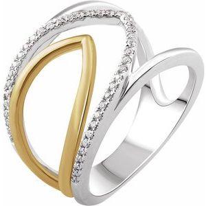 14K White & Yellow 1/6 CTW Diamond Negative Space Ring