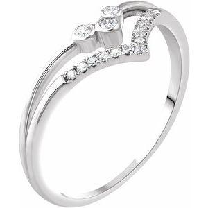 """14K White 1/10 CTW Diamond """"V"""" Ring"""