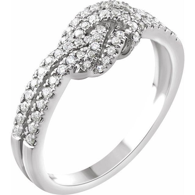 14K White 1/3 CTW Diamond Knot Ring